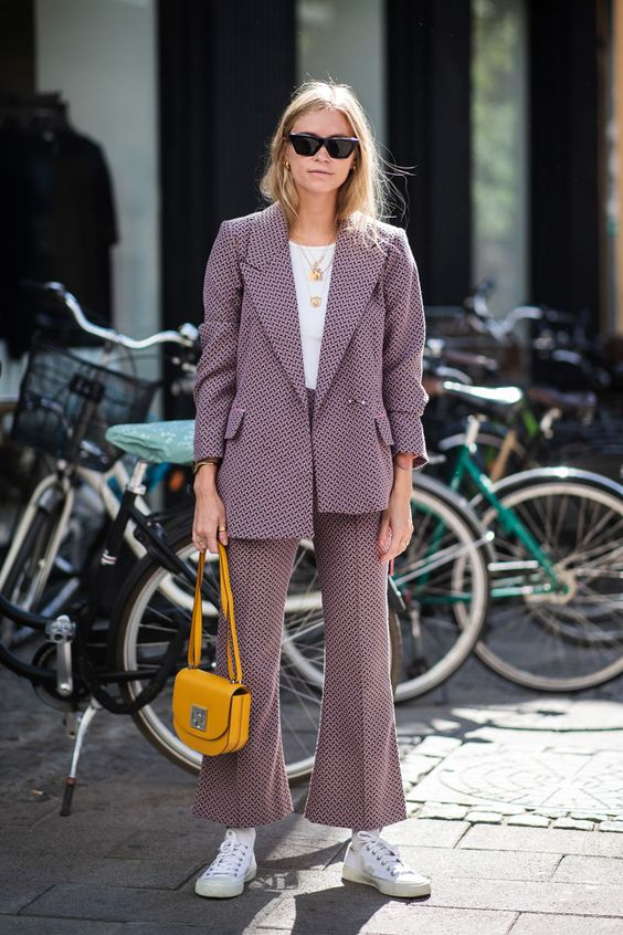 street style pattern suit and white tshirt