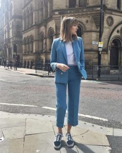 street style suit and white tshirt shot on the streets