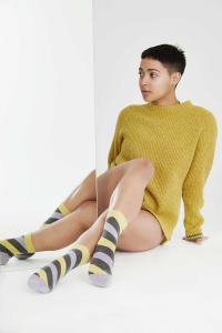 womens lambswool Fishermans rib jumper mustard yellow