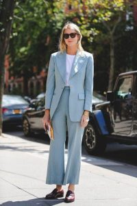 street style suit and white tshirt