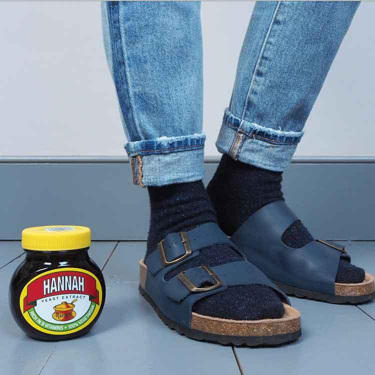 en brogue socks and sandals personalised marmite
