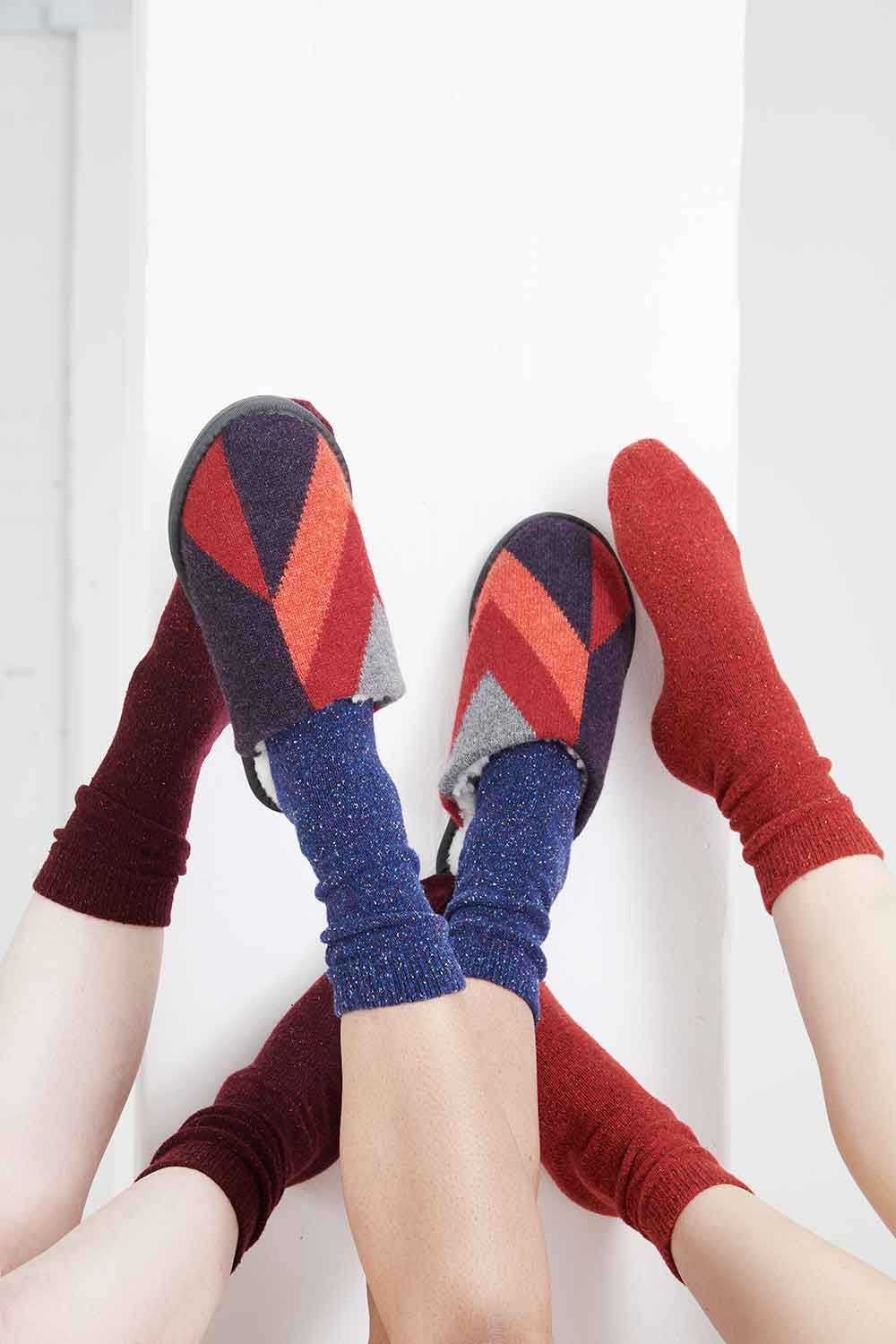 red knitted mule slippers made in Britain