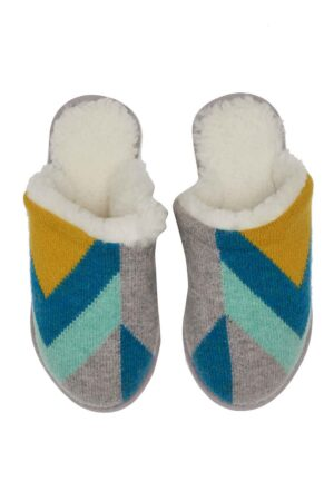 Luxury lambswool mule slippers in blue and grey made in Britain