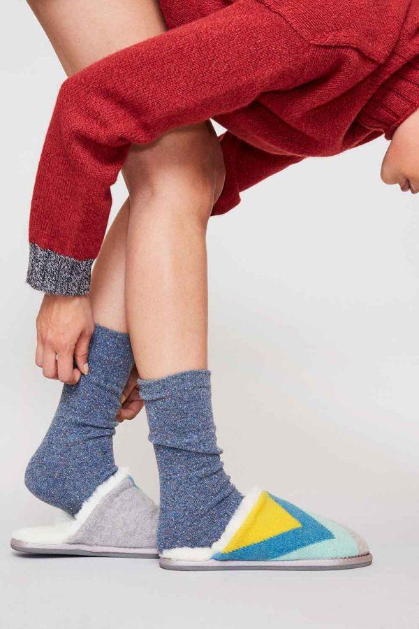 British Sheepskin slippers blue lambswool knit