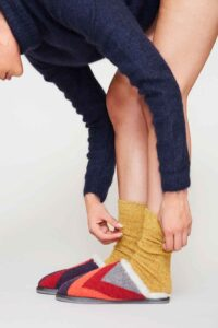 luxury knitted sheepskin slippers made in Britain Red