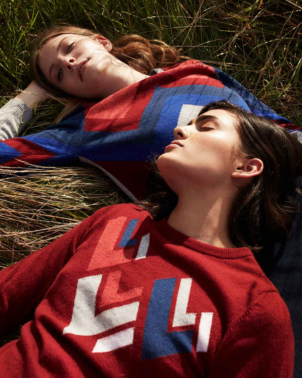 womens geometric statement cashmere sweater