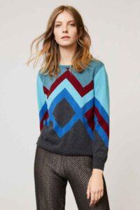 ladies cashmere sweater geometric turquoise cashmere