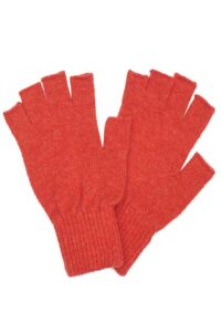 orange lambswool fingerless gloves unisex