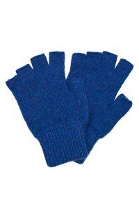 Luxury fingerless lambswool deep blue gloves made in Britain