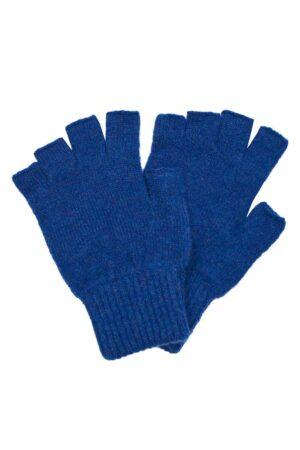 Luxury fingerless lambswool deep blue gloves made in Britain