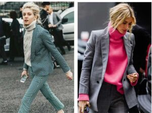 roll neck knitwear and suits street style
