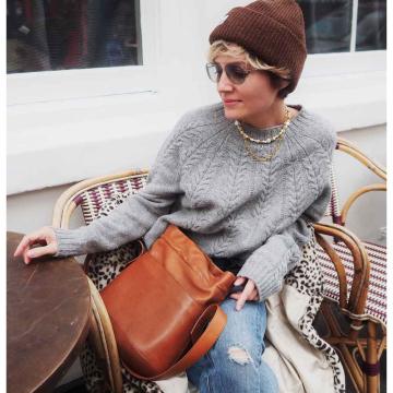 Stylonylon Grey Cable Lambswool Sweater
