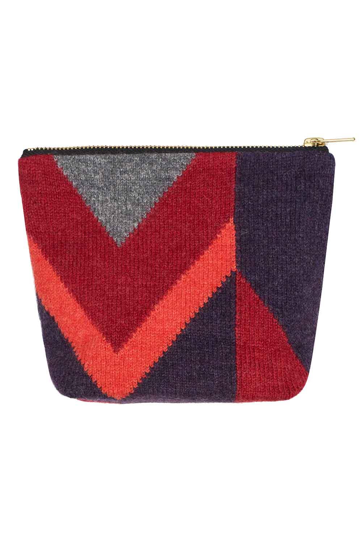luxury make up bag wool red geometric