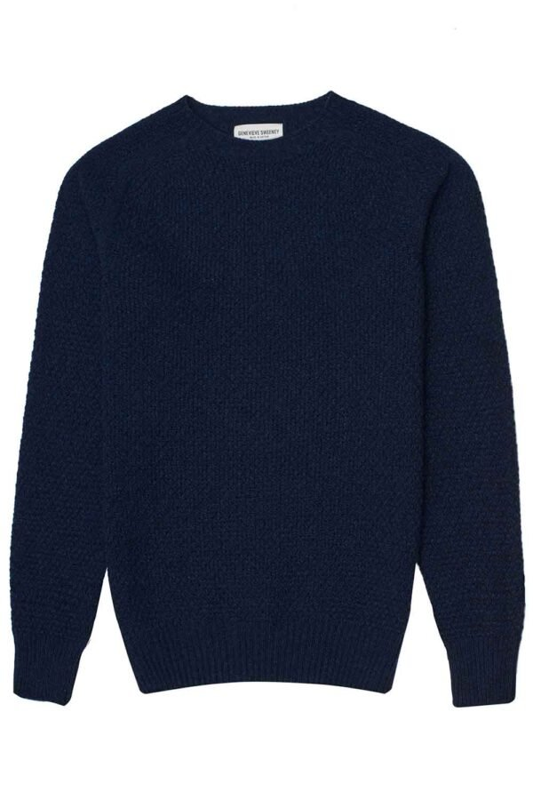 Mens Moss Stitch Lambswool Navy Blue Jumper Made in Britain