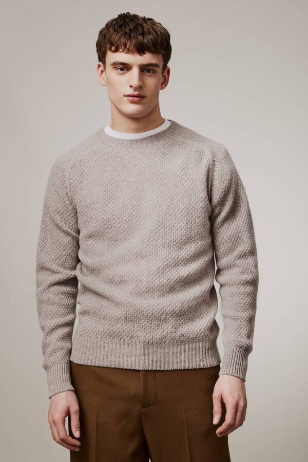 Ednam Moss Stitch Lambswool Sweater Beige - British Made