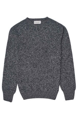 mens lambswool navy grey marl jumper made in Britain
