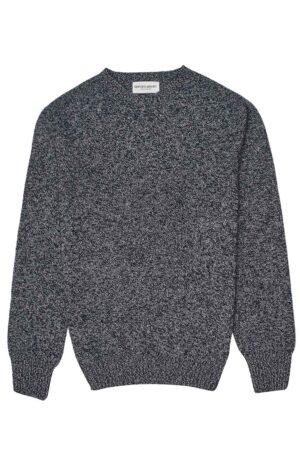 mens lambswool navy grey marl jumper made in Britain