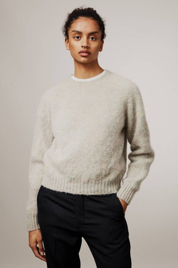 Leslie Brushed Wool Sweater Pearl - British Made 3