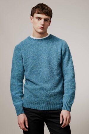 Lunan Brushed Wool Sweater Azure Blue - British Made