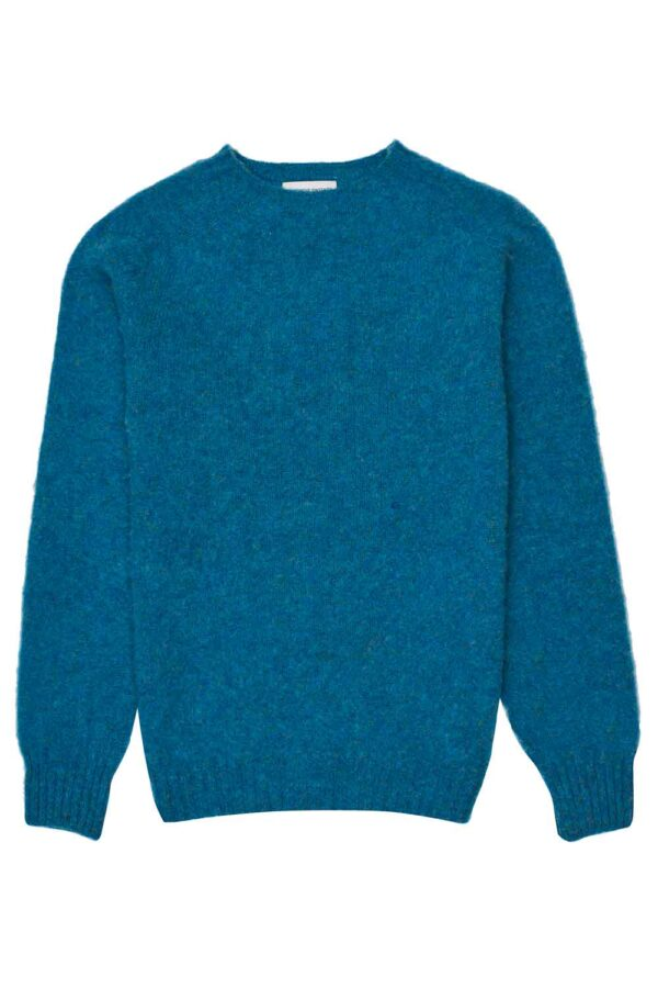 mens brushed wool blue jumper made in Britain