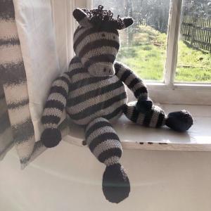 Knitted kids toys zebra merino