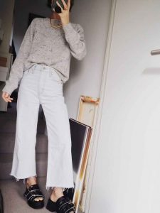 Stylonylon Spring Knitwear Grey Jumper and white jeans