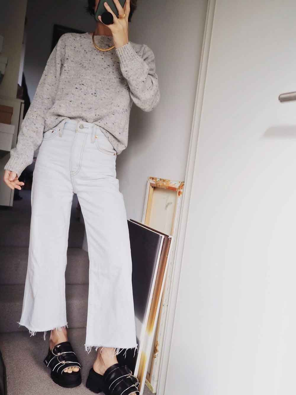 Stylonylon Spring Knitwear Grey Jumper and white jeans