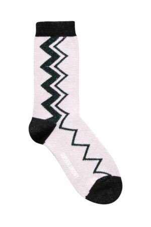 Sigi Sparkly Zig Zag Pink Socks - British Made