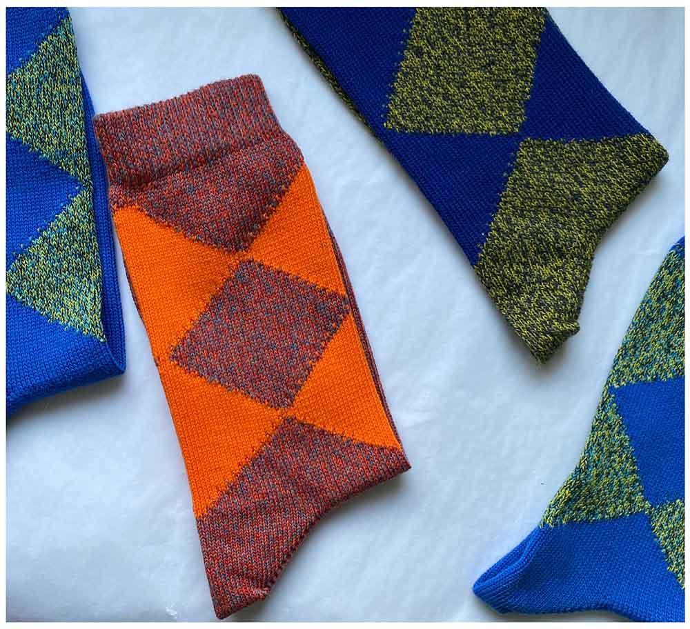 cotton argyle socks made in Britain