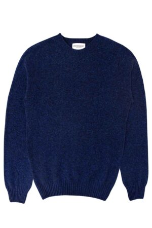 mens blue lambswool jumper made in Britain