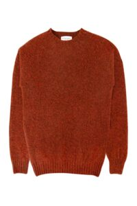 mens brushed wool jumper rust orange made in Britain