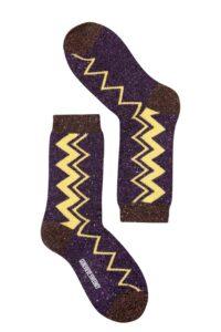 sparkly lurex purple yellow stripe socks made in Britain