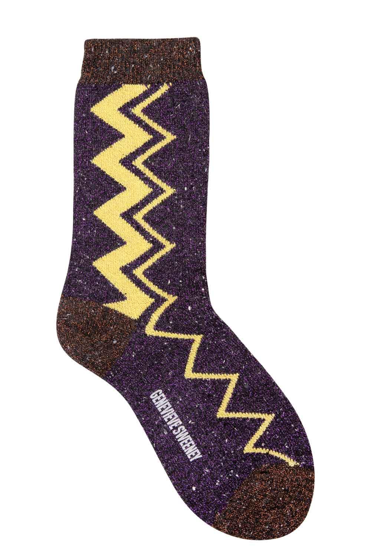 sparkly purple zig zag stripe socks made in Britain