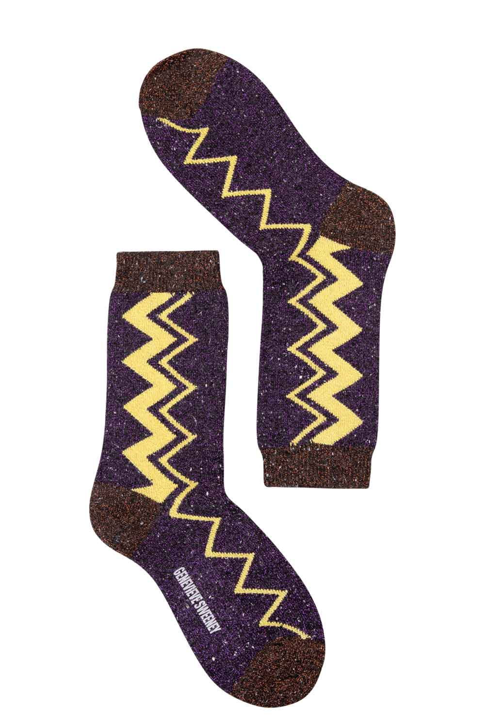 sparkly lurex purple yellow stripe socks made in Britain