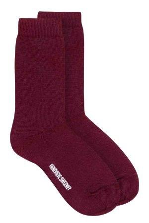 burgundy unisex cotton socks British made