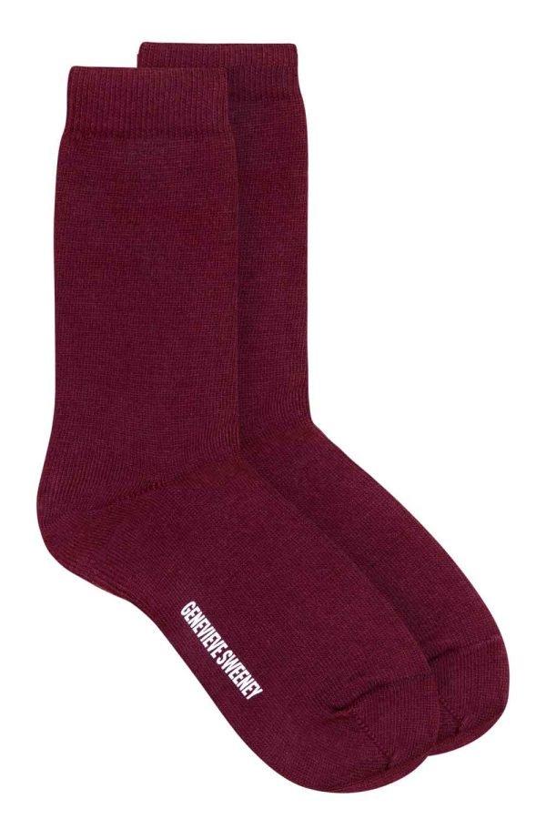 Luxury unisex cotton socks in burgundy -personalised-British made
