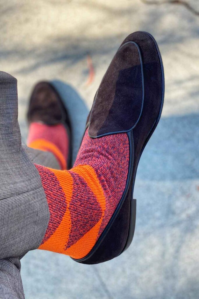 cotton argyle mens socks styled with suede shoes