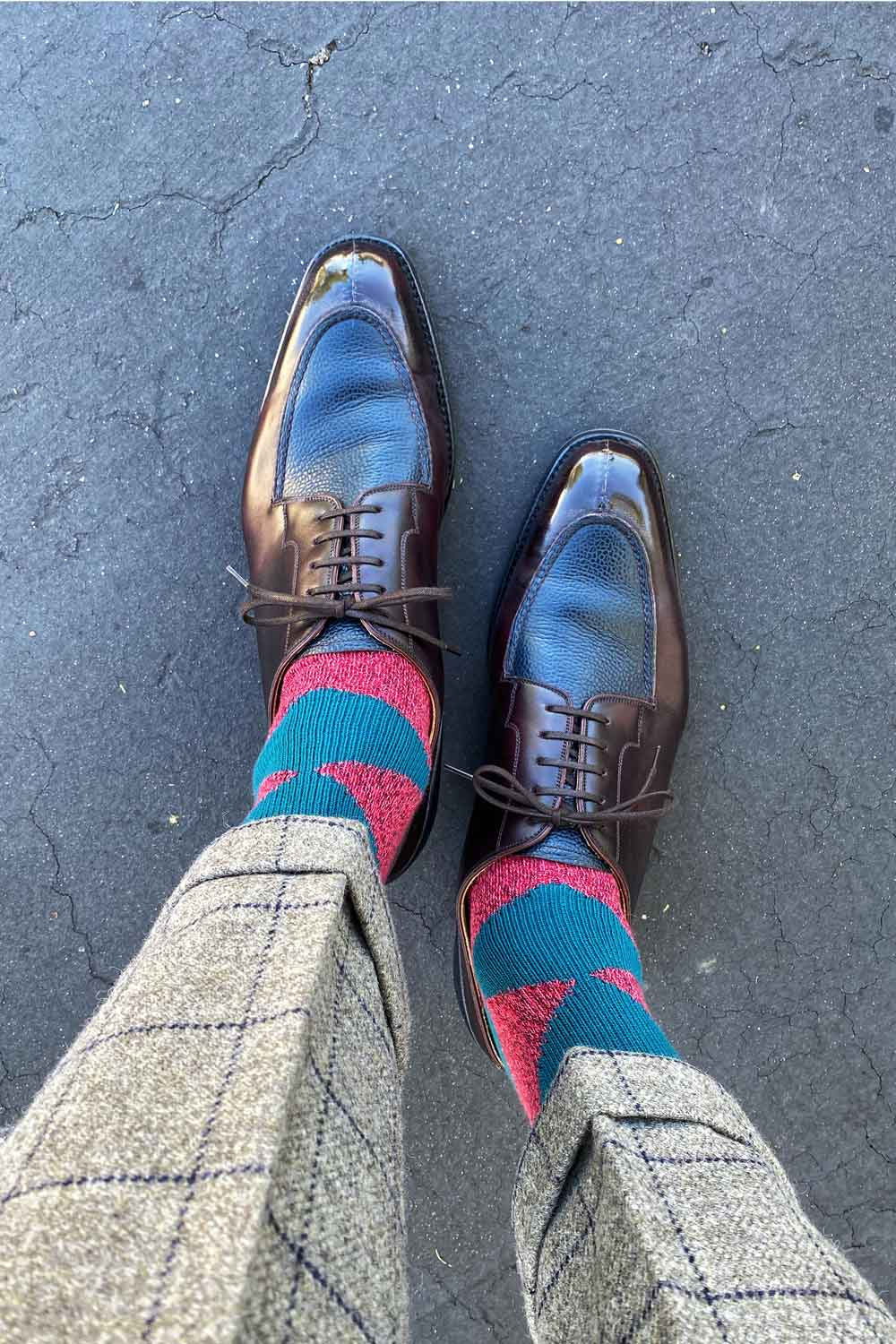 that guys shoes wears the GS Argyle Cotton socks