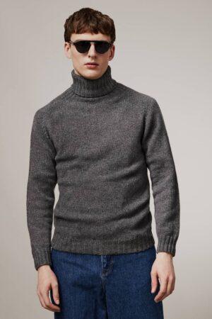 Aden Roll neck Lambswool Sweater Grey - British Made
