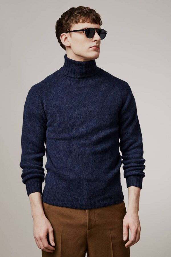 Aden Roll neck Lambswool Sweater Navy - British Made 3