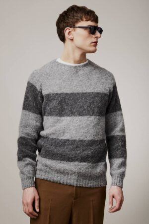 Alford Brushed Wool Stripe Sweater Grey - British Made