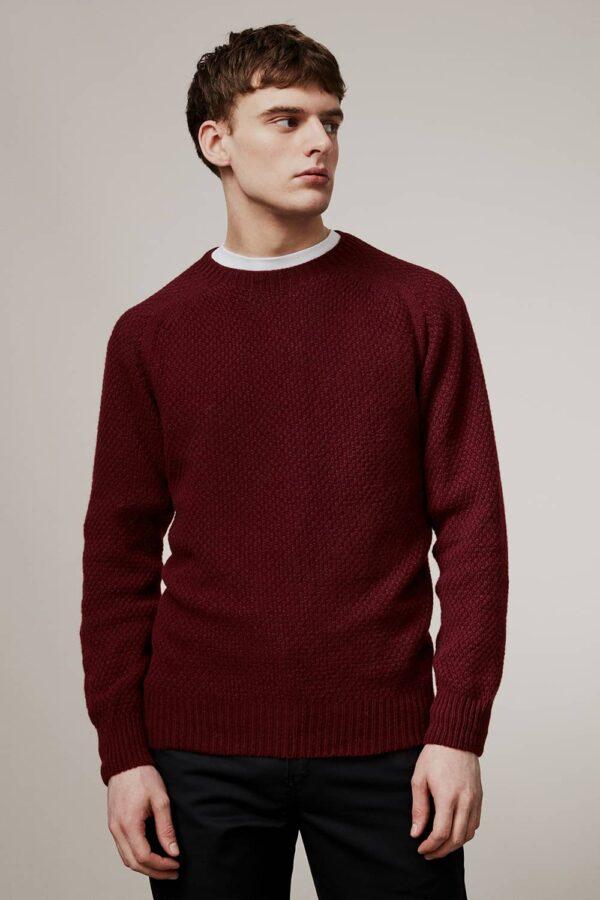 Ednam Moss Stitch Lambswool Sweater Burgundy - British Made 3