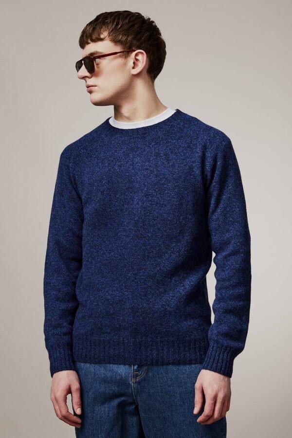 Ellon Lambswool Sweater Indigo Marl - British Made 3