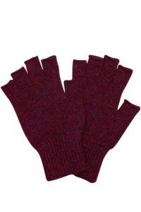 Luxury unisex fingerless lambswool gloves in burgundy british made