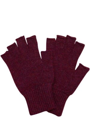 unisex fingerless wool gloves burgundy british made