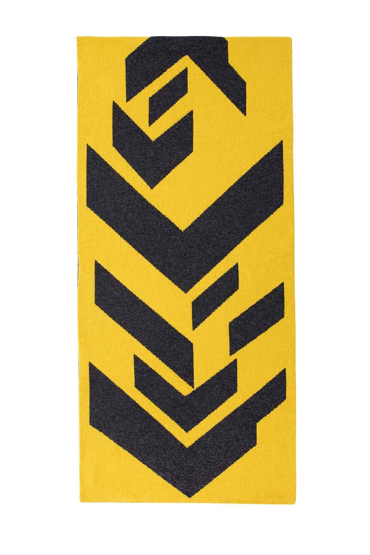 oversized geometric lambswool wrap scarf mustard yellow