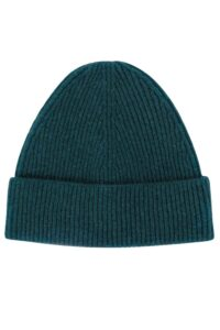 Unisex 100% lambswool beanie hat in hunter green British made