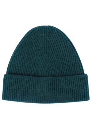green ribbed lambswool beanie british made