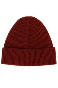Unisex 100% lambswool beanie hat in rust British made