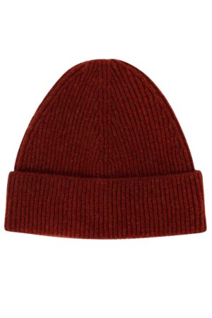 brown lambswool ribbed beanie british made
